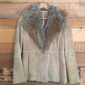Vintage Guess Tan Leather & Fur Jacket Small